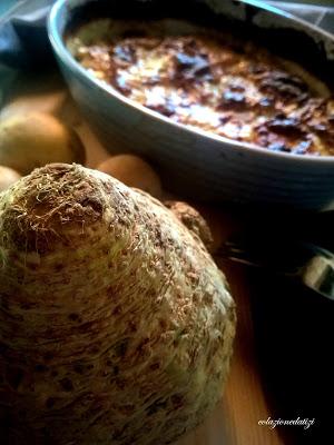 Gratin di sedano rapa porri e patate