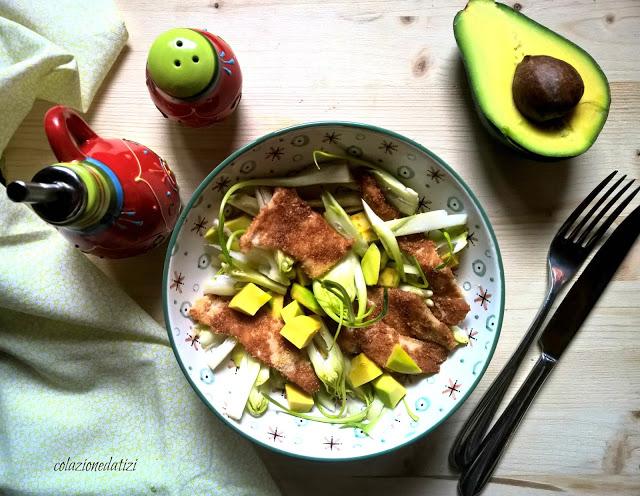 insalata di puntarelle pollo e avocado