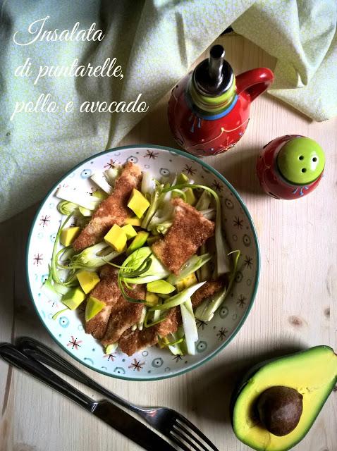 Insalata di pollo avocado e puntarelle
