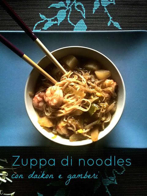 Zuppa di noodles gamberi e daikon