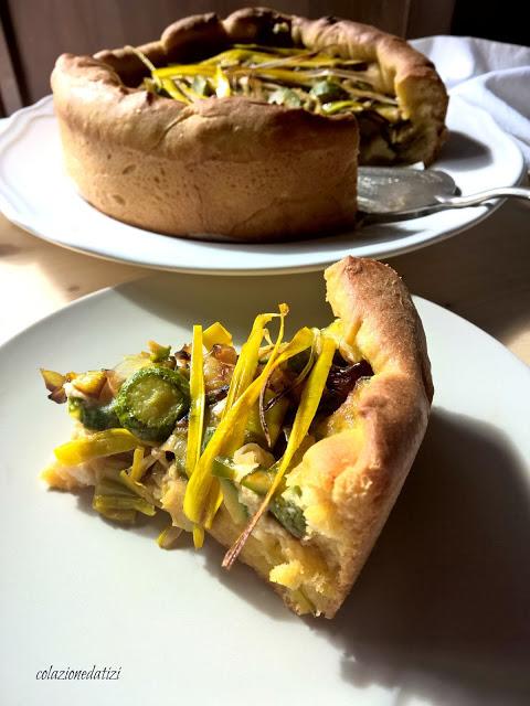 torta salata di pasta brioche con ricotta zucchine e porri