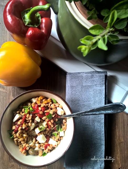 insalata di farro con peperoni e primo sale