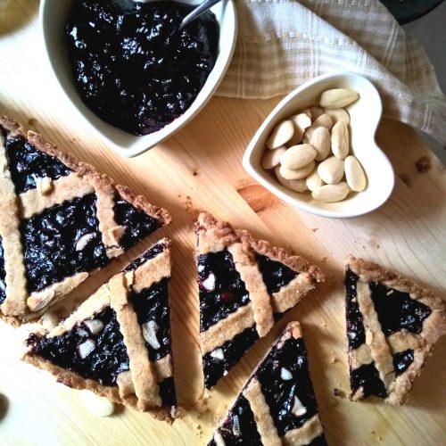 crostata con frolla vegana al riso e mandorle