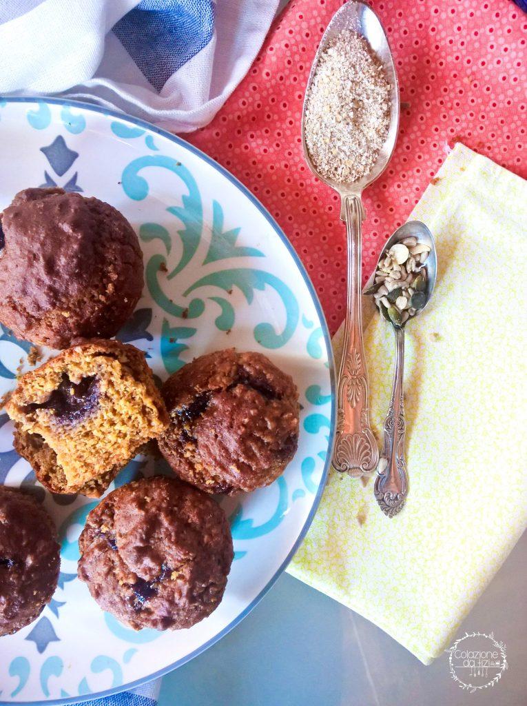 muffin multicereali con crusca d'avena e semi