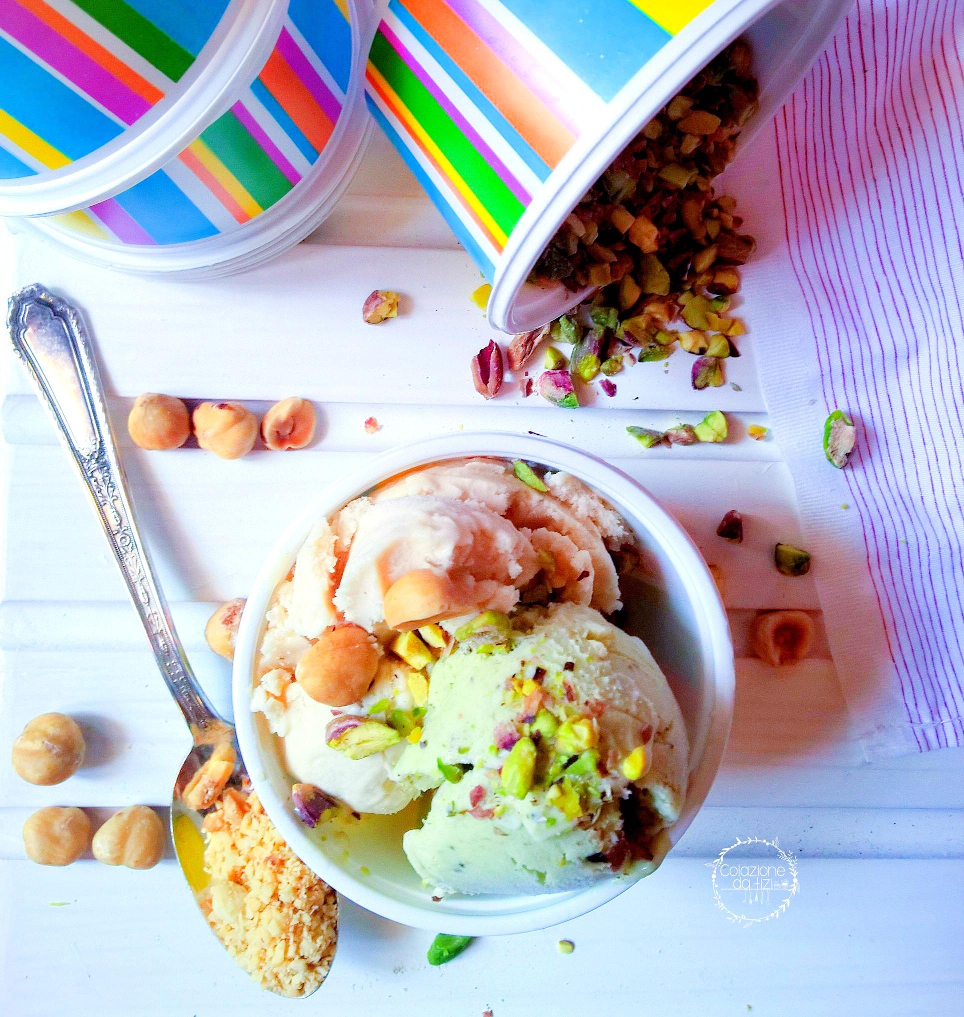 gelato home made pistacchio nocciola base fiordilatte